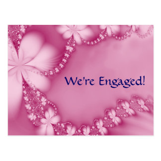 PinkFloral Jewel We re Engaged Post Card