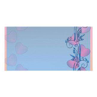 Pinkish hearts and bluish swirls valentine gift customized photo card