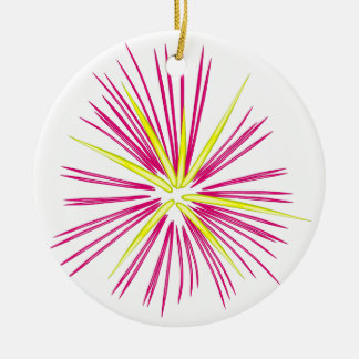 Pinkish-Purple and Gold Fireworks Christmas Ornament