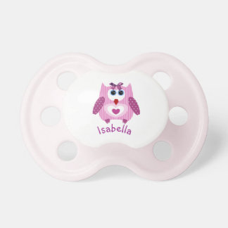 Pinkish Purple Owl Personalized Name Baby Pacifier