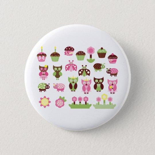 PinkLimeBugs1 6 Cm Round Badge