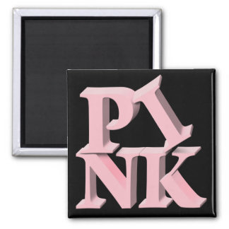 PinkonBlack Breast Cancer Awareness Square Magnet
