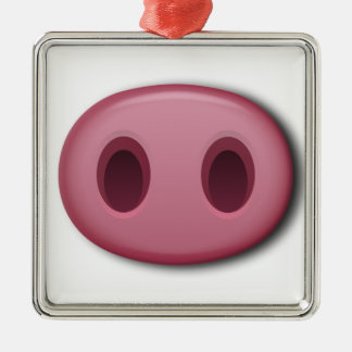 PinkPig Snout Silver-Colored Square Decoration