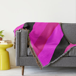 Pinks and Black Stripes Throw Blanket