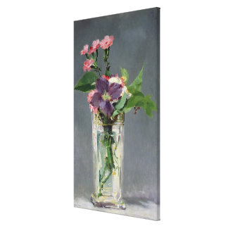 Pinks and Clematis in a Crystal Vase, c.1882 Gallery Wrapped Canvas