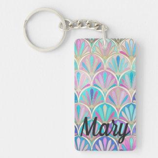 Pinks, Aqua and Lavender Art Deco Scallops Key Fob