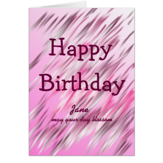 Pinks artwork happy birthday (name)may y d blossom greeting card