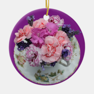 Pinks carnations in teacup christmas ornament