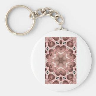 pinks kaleidoscope basic round button key ring