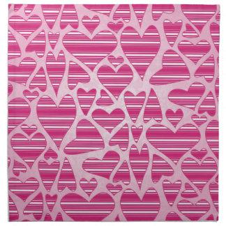 Pinks Striped Hearts Napkin