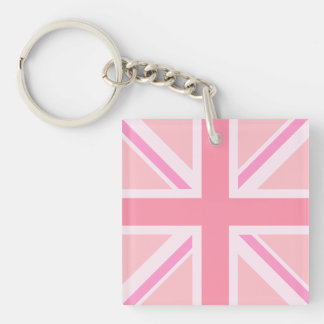 Pinks Union Jack/Flag Square Key Ring