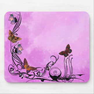 Pinks with butterflies mousepad