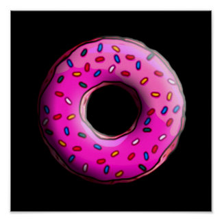 Pinky Donut with colorful sprinkles + your ideas Poster