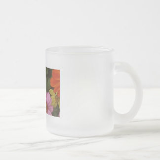 Pinky flowers frosted glass mug