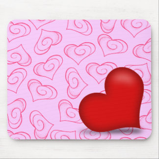 Pinky Love (Solid Heart) Mouse Pads