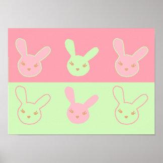 Pinky Minty Bunnies Print