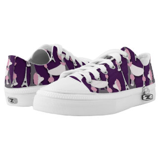 Pinky Paris Poodle on Purple Printed Shoes