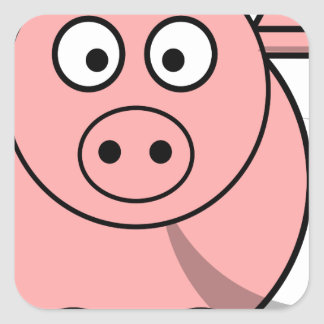 Pinky pig square sticker