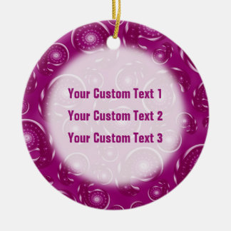 Pinky Purple and Plum Color Paisley Pattern Double-Sided Ceramic Round Christmas Ornament