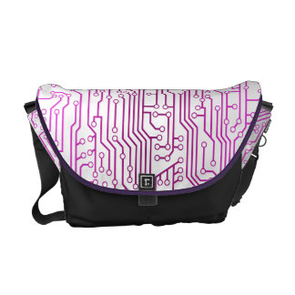 Pinky Purple Circuit Board Pattern Messenger Bag
