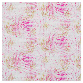 Pinky retro halftones with buterflies fabric