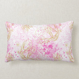 Pinky retro halftones with buterflies lumbar cushion