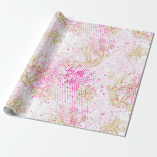 Pinky retro halftones with buterflies wrapping paper