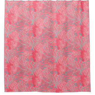 Pinky Seahorse & Seashell Pattern Design Shower Curtain