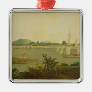 Pinnace Sailing Down the Ganges past Monghyr Fort Christmas Ornaments