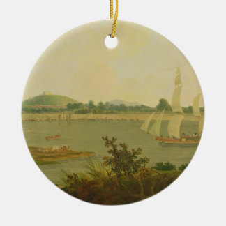 Pinnace Sailing Down the Ganges past Monghyr Fort, Round Ceramic Decoration
