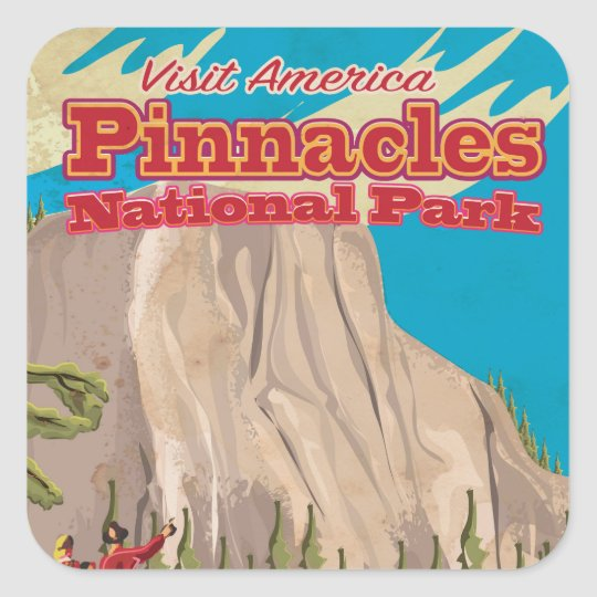 Pinnacles National Park vintage Travel Poster. Square Sticker