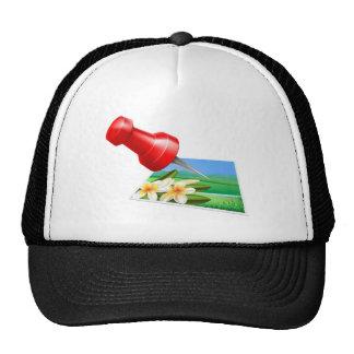 Pinning photo icon mesh hat