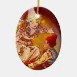 Pinocchio Double-Sided Oval Ceramic Christmas Ornament