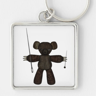 Pins & Needles 3D Bear Silver-Colored Square Key Ring