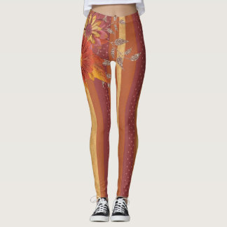 Pinstripe Chic designs with Flower Detail Leggings
