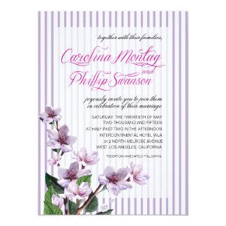 Pinstripe Lilac Branches Watercolor Floral Wedding Custom Invitation