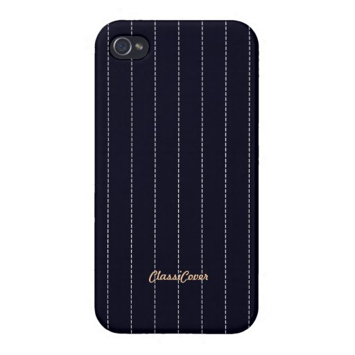 Pinstripe Navy Blue Pattern Savvy iPhone 4/4S Covers