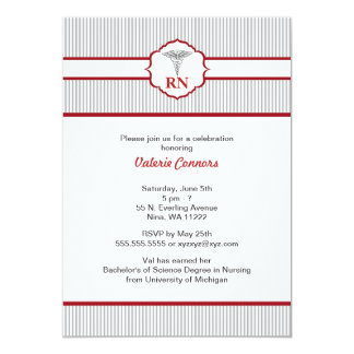 Pinstripe Nurse Graduation Celebration Invites