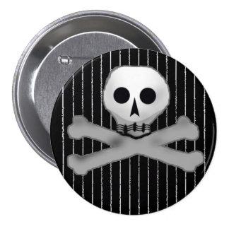 pinstripe skully 7.5 cm round badge