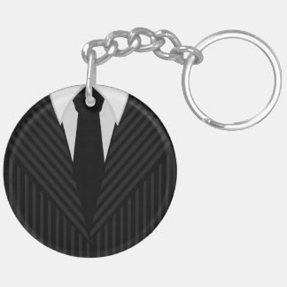 Pinstripe Suit And Tie Round Two Sided Keyrings Double-Sided Round Acrylic Key Ring