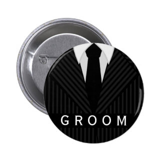 Pinstripe Suit Bachelor Party Groom Round Badge