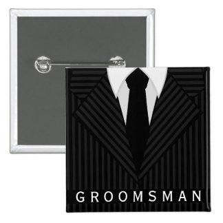 Pinstripe Suit Bachelor Party Groomsman Square Pin