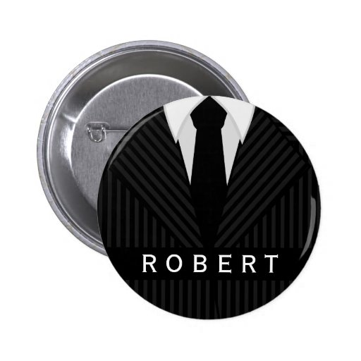 Pinstripe Suit Mens Fashion Round Name Tag Badge Pin
