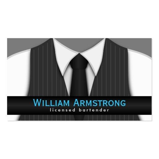 Pinstripe Suit Vest Tie Bartender Business Cards Business Cards