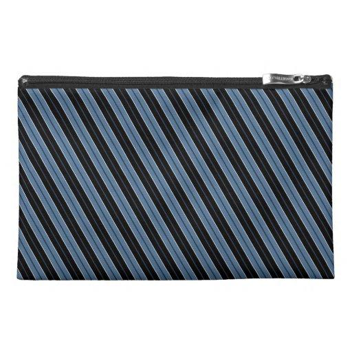 Pinstripes blue black white diagonal stripes travel accessory bags