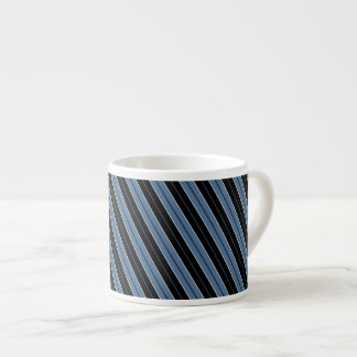 Pinstripes blue black white diagonal stripes espresso mug