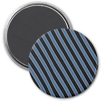 Pinstripes blue black white diagonal stripes refrigerator magnet