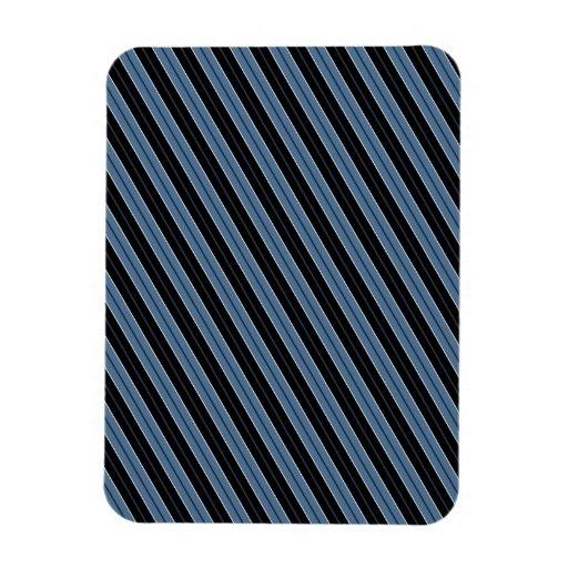 Pinstripes blue black white diagonal stripes rectangle magnets