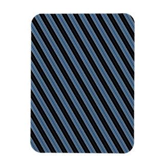 Pinstripes blue black white diagonal stripes rectangular photo magnet