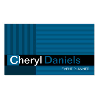 Pinstripes Monogram Initials Event Planner blue Double-Sided Standard Business Cards (Pack Of 100)